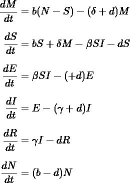 \begin{equation*} \setlength{\jot}{10pt} \begin{aligned} \frac{dM}{dt} &= b(N-S)-(\delta +d)M \\ \frac{dS}{dt} &= bS+ \delta M- \beta SI-dS \\ \frac{dE}{dt} &= \beta SI-(ε+d)E \\ \frac{dI}{dt} &= \varepislon E-(\gamma +d)I \\ \frac{dR}{dt} &= \gamma I-dR \\ \frac{dN}{dt} &= (b-d)N \\ \end{aligned} \end{equation*}